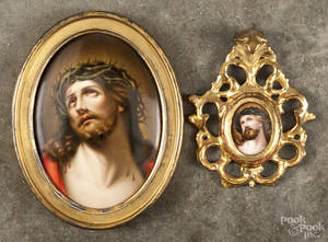Two painted porcelain plaques of Jesus Christ