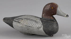Carved and painted widgeon duck decoy mid 20th c