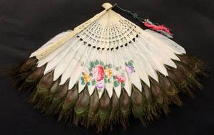 Hand Painted Peacock Feather  Ivory Fan