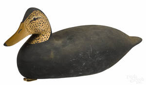 New Jersey carved and painted black duck decoy mid 20th c