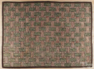 Roomsize American hooked rug early 20th c