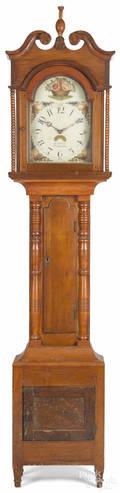 Pennsylvania cherry Sheraton tall case clock