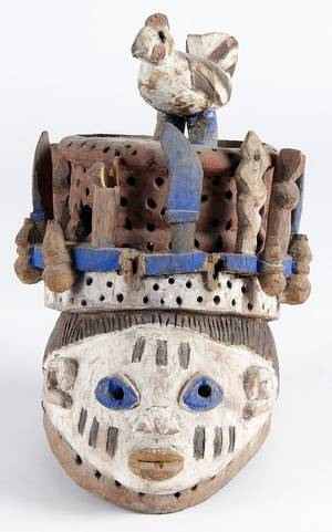 African carved and polychrome painted Yoruba Gelede helmet mask