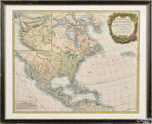 Color engraved map of America