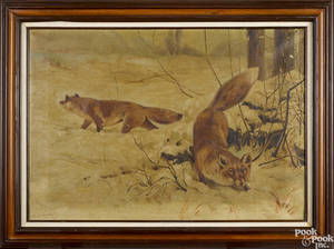 Oil on canvas winter landscape with a fox