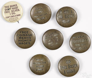 Eight William Jennings Bryan political buttons