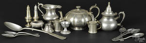 Assorted pewter tablewares