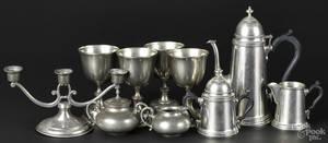 Ten pieces of pewter tablewares