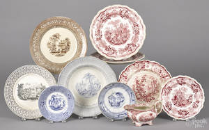 Ten pieces of transfer decorated ironstone