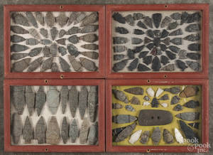Four painted pine cases of Native American flint points and stones