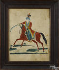 Watercolor on paper of a mounted Turkish horseman 19th c