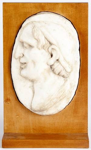 Italian carved marble profile plaque of a gentleman