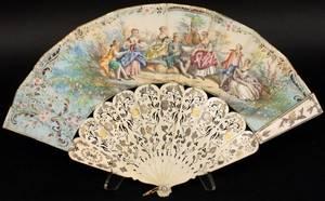 Ladies Hand Embellished Figural  Ivory Fan