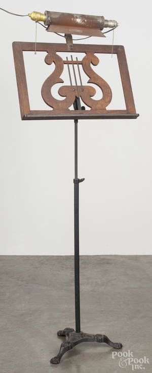 Victorian iron and oak music stand