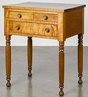 Pennsylvania Sheraton figured maple work stand