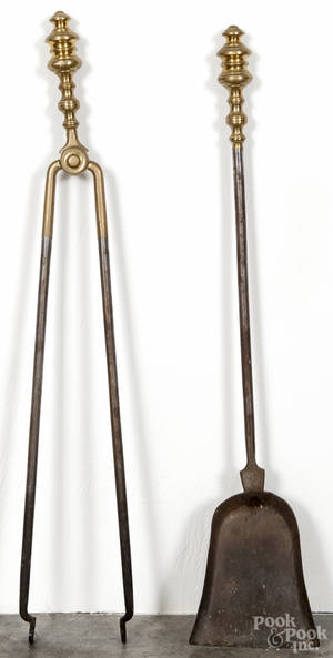 Federal style brass and iron fire tongs and shovel
