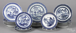 Twentythree Chinese export blue and white plates and soup bowls