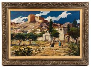 Adobe Landscape Oil on Canvas Signed Sanchez