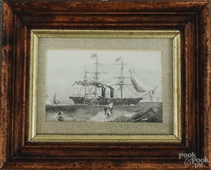Miniature English watercolor and gouache portrait of a sidewheeler