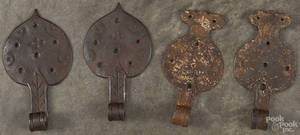 Two pairs of Moravian wrought iron hinges