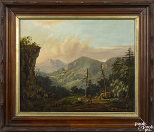 American oil on canvas mountain landscape 19th c