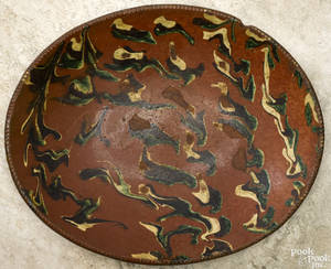 New England redware loaf dish 19th c