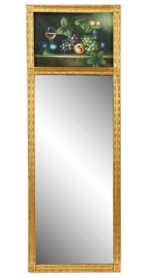French Style Trumeau Mirror wStillLife Signed