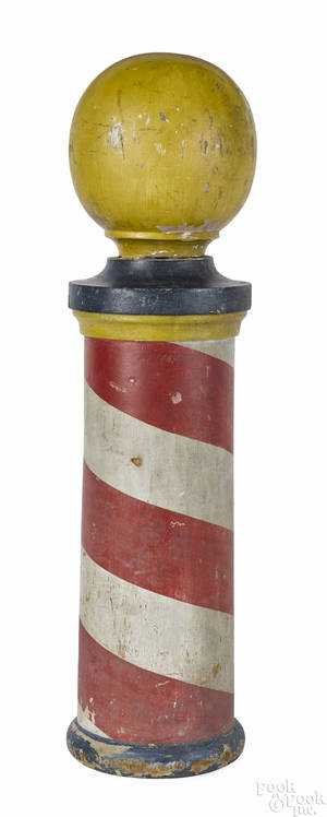 Turned and painted barber pole late 19th c