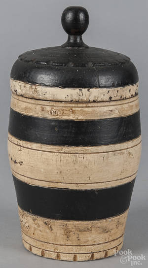 Pennsylvania turned and painted lidded tobacco canister 19th c