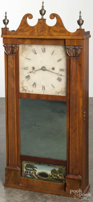 American mahogany mirror wall clock