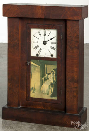 Chauncey Jerome mahogany shelf clock with a fusee movement