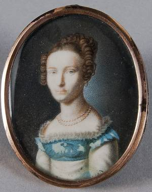 Continental miniature watercolor on ivory portrait of a woman