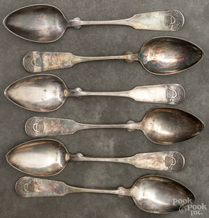 Six New York coin silver serving spoons