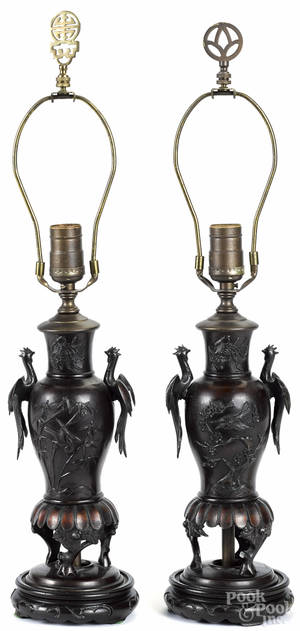 Pair of Japanese bronze table lamps