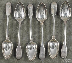 Set of six Philadelphia coin silver tablespoons