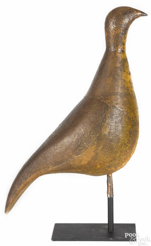 American painted tin oversized quail late 19th c