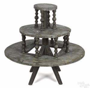 Painted pine revolving plant stand late 19th c