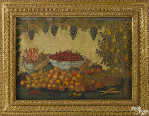 Oil on burlap primitive still life of fruit 19th c