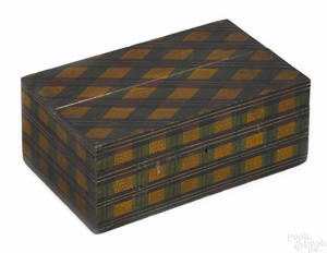 American painted tartan lock box mid 19th c