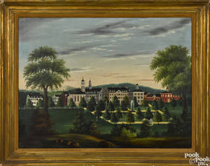 American oil on canvas view of St Josephs Academy Emmitsburg Maryland midlate 19th c