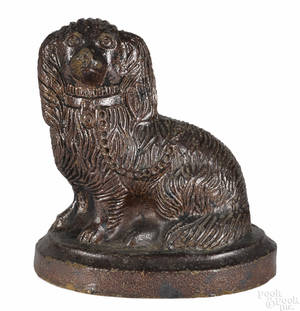 Large sewer tile figure of a King Charles spaniel late 19th c