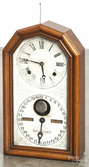 Ithaca Calendar Clock Co walnut shelf clock