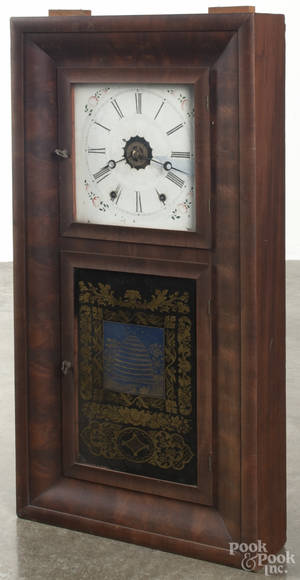 Ansonia Brass Co mahogany ogee shelf clock