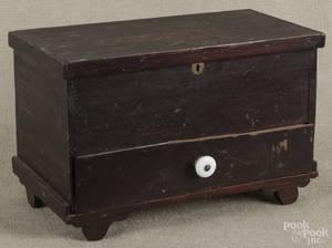 Miniature Pennsylvania stained poplar blanket chest