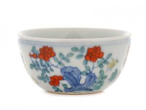 Chinese Wucai Enamel Tea Cup w Rooster  Chicks