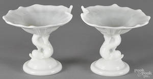 Pair of clambroth dolphin base tazzas