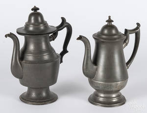 Two American pewter coffee pots