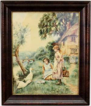 Early 20th C Watercolor of Two Girls with Ducks