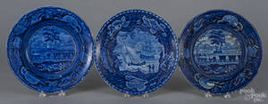 Historical blue Staffordshire  Baltimore and Ohio Railroad  plate and soup bowl