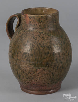 New England redware jug 19th c